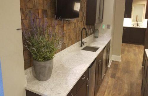 Alcove Kitchen With White Countertop