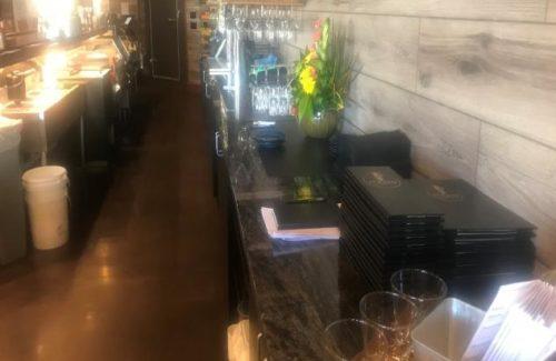 Gray Marbled Countertop In Restaurant