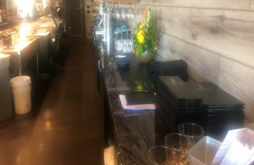 Dark Gray Marbled Countertop In Restaurant