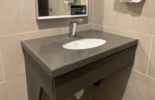Gray Vanity In Bathroom