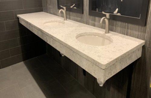 White Quartz Double Vanity In Bathroom