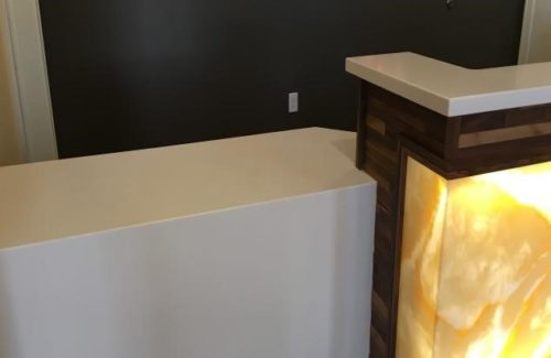 Corian Bisque Countertop With Waterfall Drop
