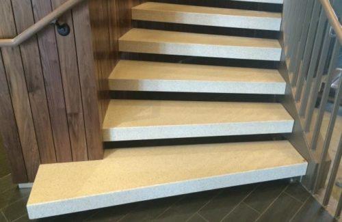 Corian Quartz Antique Pearl Treaded Staircase