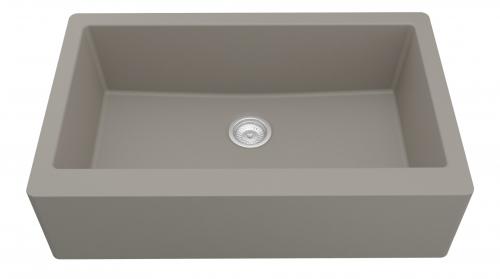 Grey Rectangular Single-Basin Sink