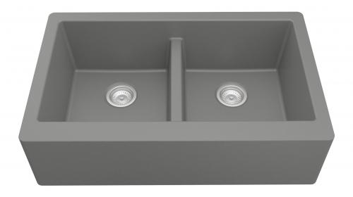 Grey Rectangular Double-Basin Sink