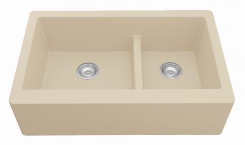 Tan Rectangular Double-Basin Sink