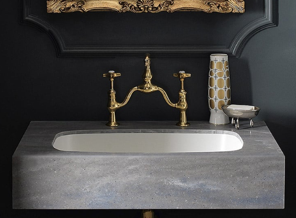 Gray and Brass Antique Sink
