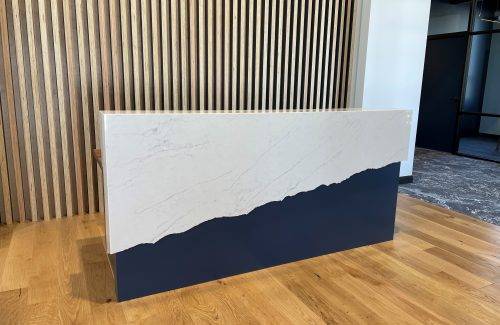 Decoartive White And Navy Countertop With Slant Design